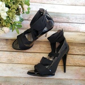 Guess Black Stretchy Wrap Heels With Zippers
